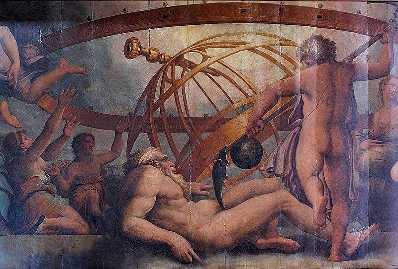 la mutilazione di Urano da parte di saturno, Vasari.