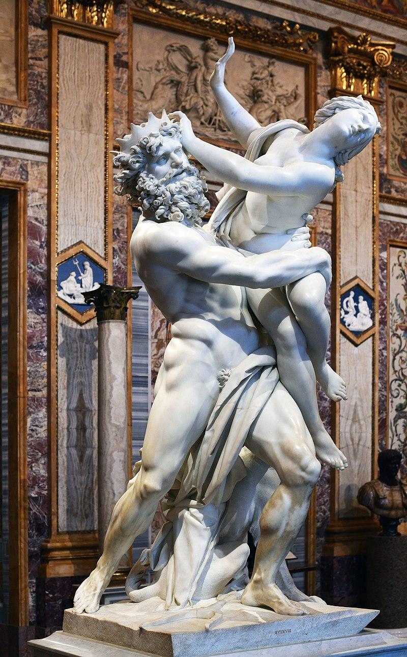 Ratto di proserpina, Bernini. Si può riconoscere Ade dalla corporatura massiccia, la corona e la presenza di cerbero ai suoi piedi.