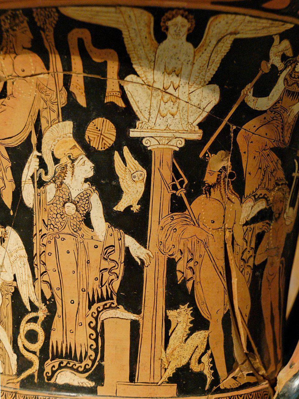 Atena e poseidone in un calice con civetta