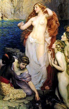 Herbert Draper, le perle di afrodite, bellissima Dea dal corpo perfetto