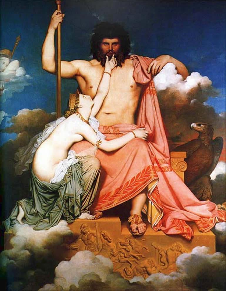 Zeus e Teti. Zeus si può riconoscere dallo scettro, l'aquila e il modo in cui porta abiti e capelli