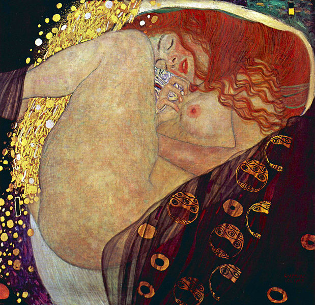 La bellissima e sensuale unione fra Zeus e Danae raffigurata da Gustav Klimt nel 1907-1908, collezione privata, Graz