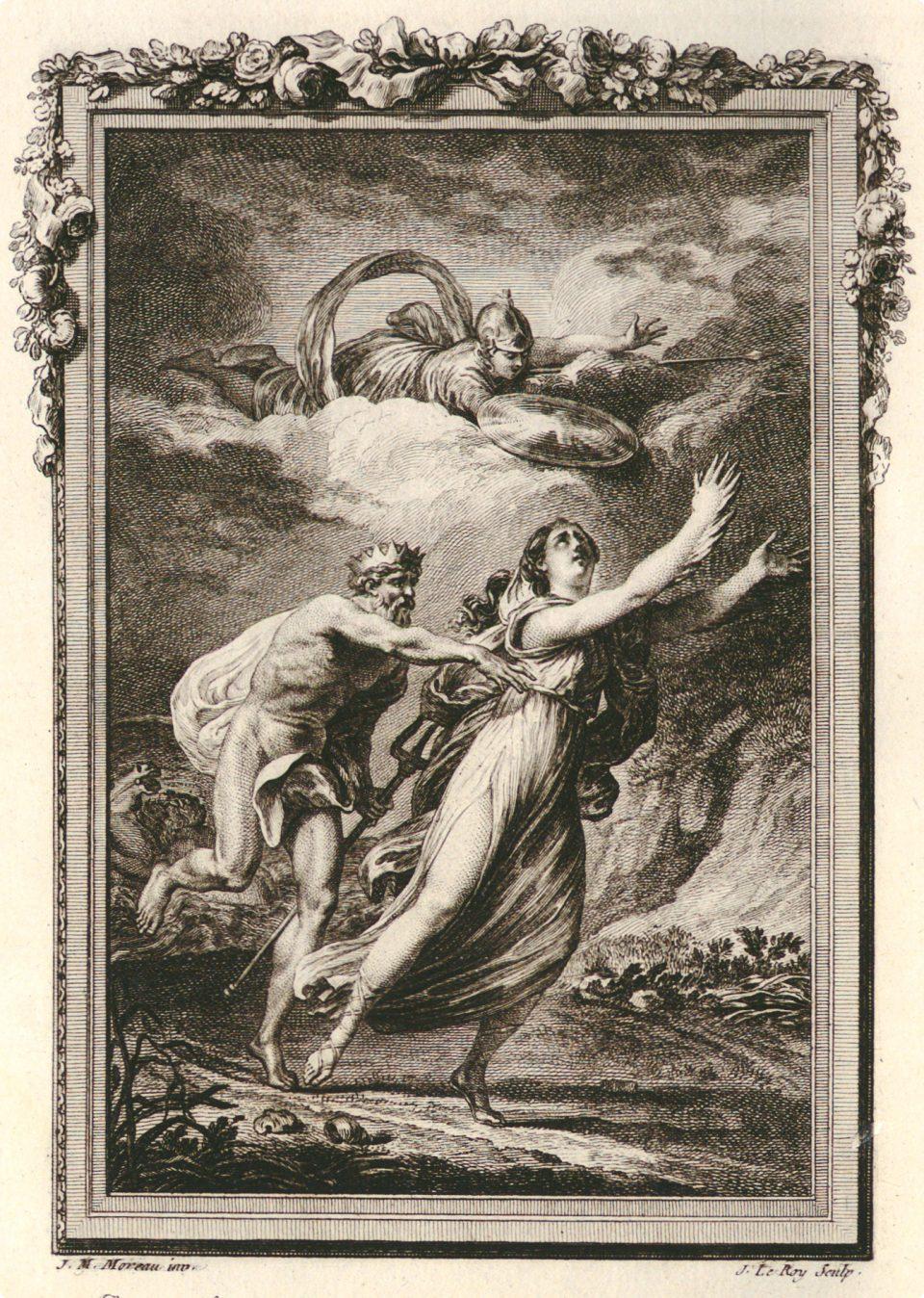 Coronide sta per essere trasformata in corvo da Atena