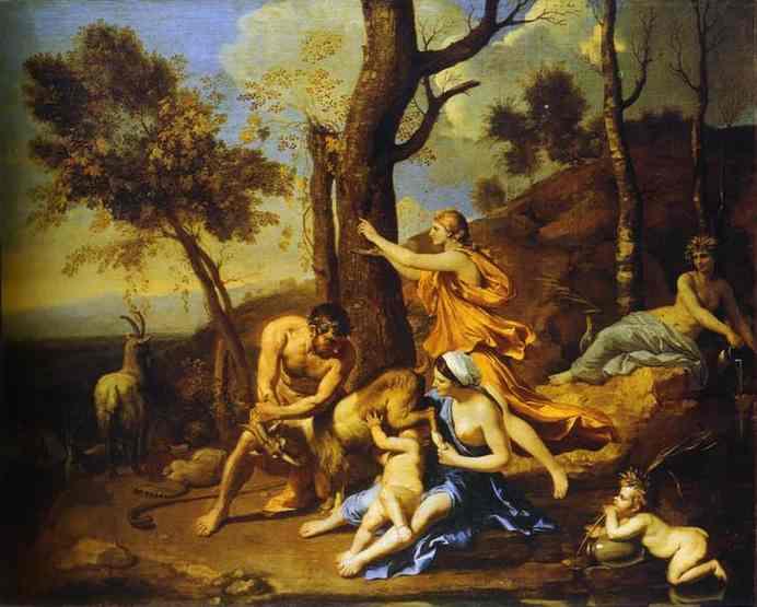 Quadro l'infanzia di Zeus di Poussin, dove il dio si fa allattare dalla capra Amaltea