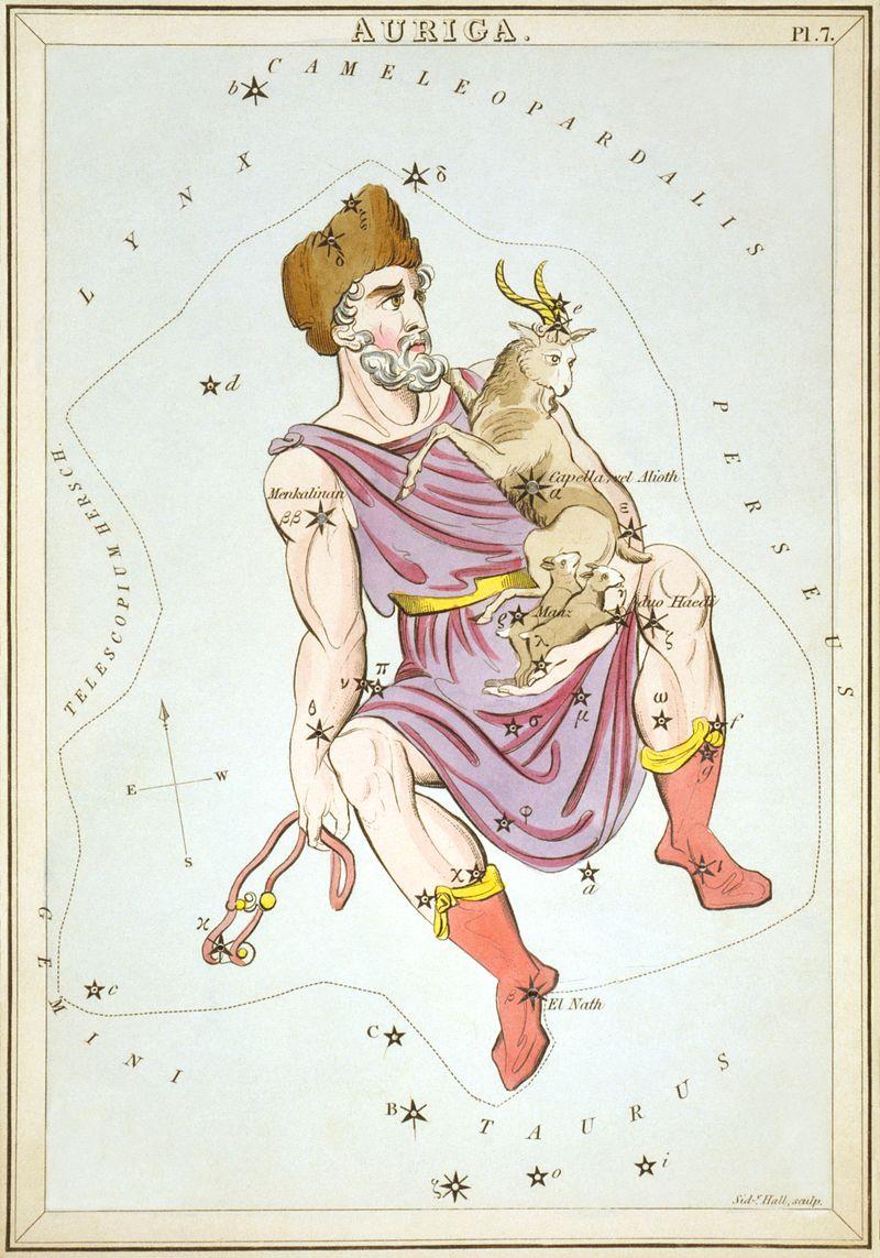 Stampa Auriga di Sidney Hall, con Amaltea raffiguraa fra le corna della capra.