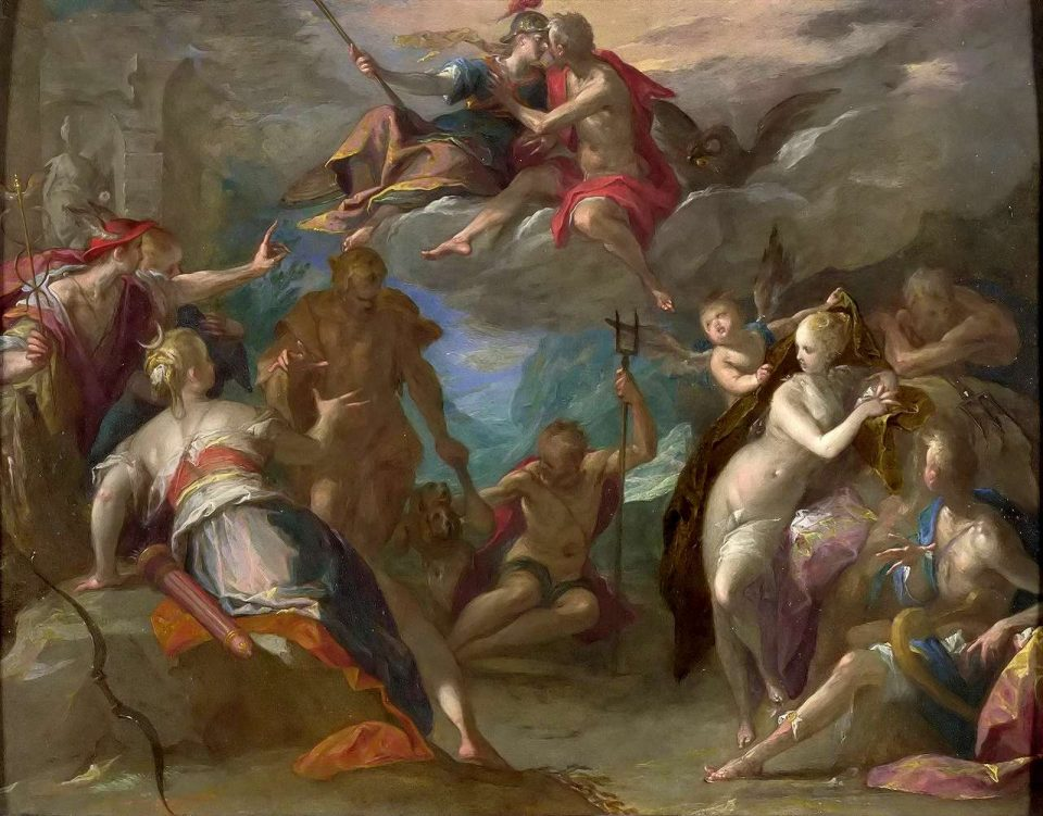 Il divertimento degli dei, di Hans von Aachen. Si può riconoscere zeus in alto al centro, Ade sotto di lui e Poseidone accovacciato all'estrema destra