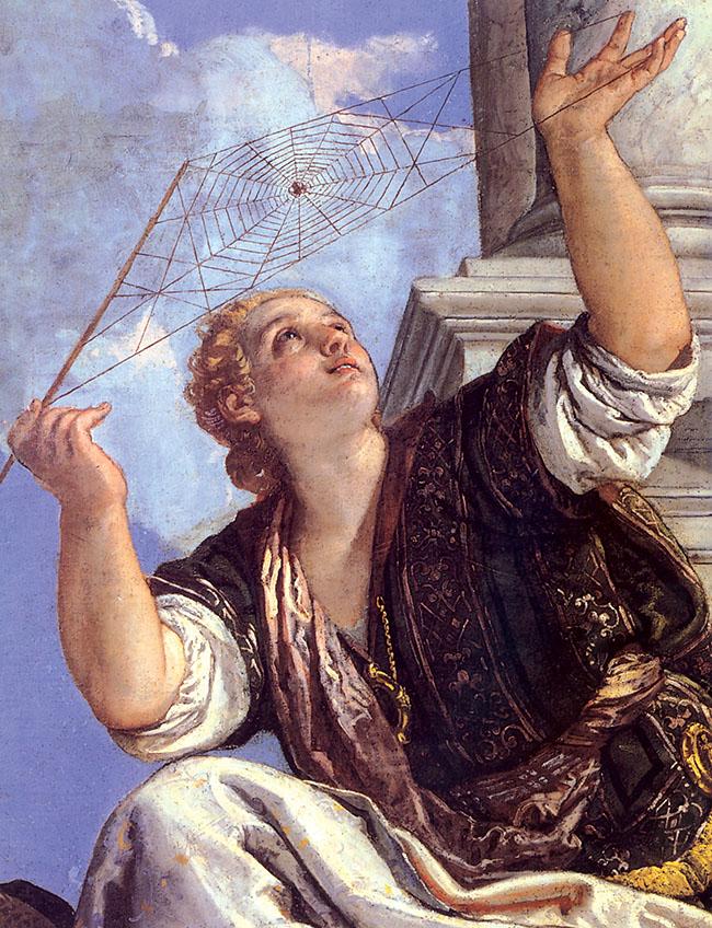 Aracne fu trasformata in ragno da Atena per la presunzione di essersi dichiarata più brava della Dea nell'arte del telaio.  Opera di Paolo Veronese, 1575, Palazzo Ducale, Venezia
