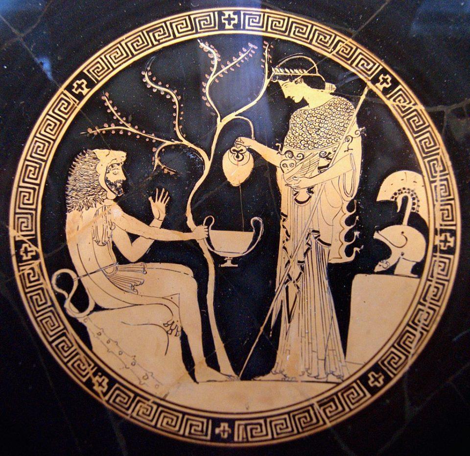 Atena rende manifesto il suo corpo a Odisseo e Eracle