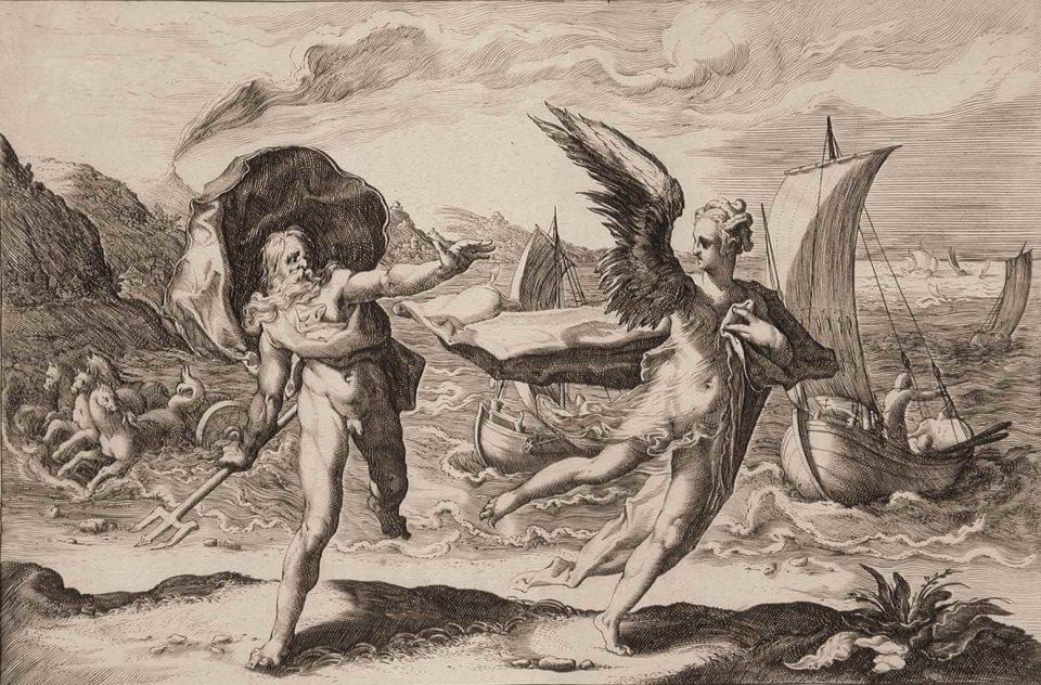 Coronis si sta trasformando in corvo grazie all'intervento di Atena