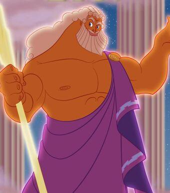 Zeus dal film Hercules, si può riconoscere dalla folgore e dai folti capelli