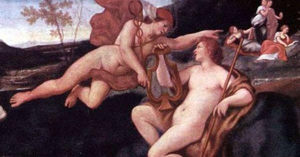 Apollo e Ermes durante il dono della lira