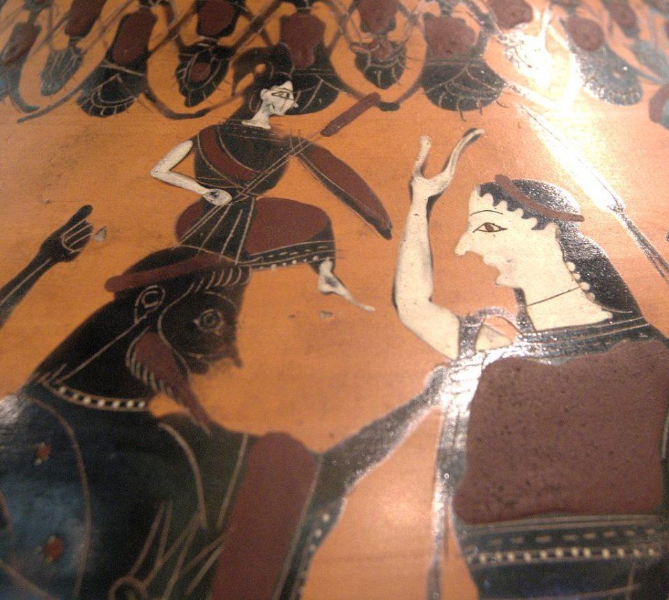 Anfora raffigurante la nascita di Atena, pittura a figure nere IV secolo dopo cristo circa, Museo del Louvre, Parigi