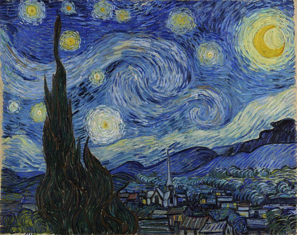 Venere è la stella luminosa in basso, leggermente decentrata a sinistra, nel famoso quadro di Van Gogh la notte stellata.