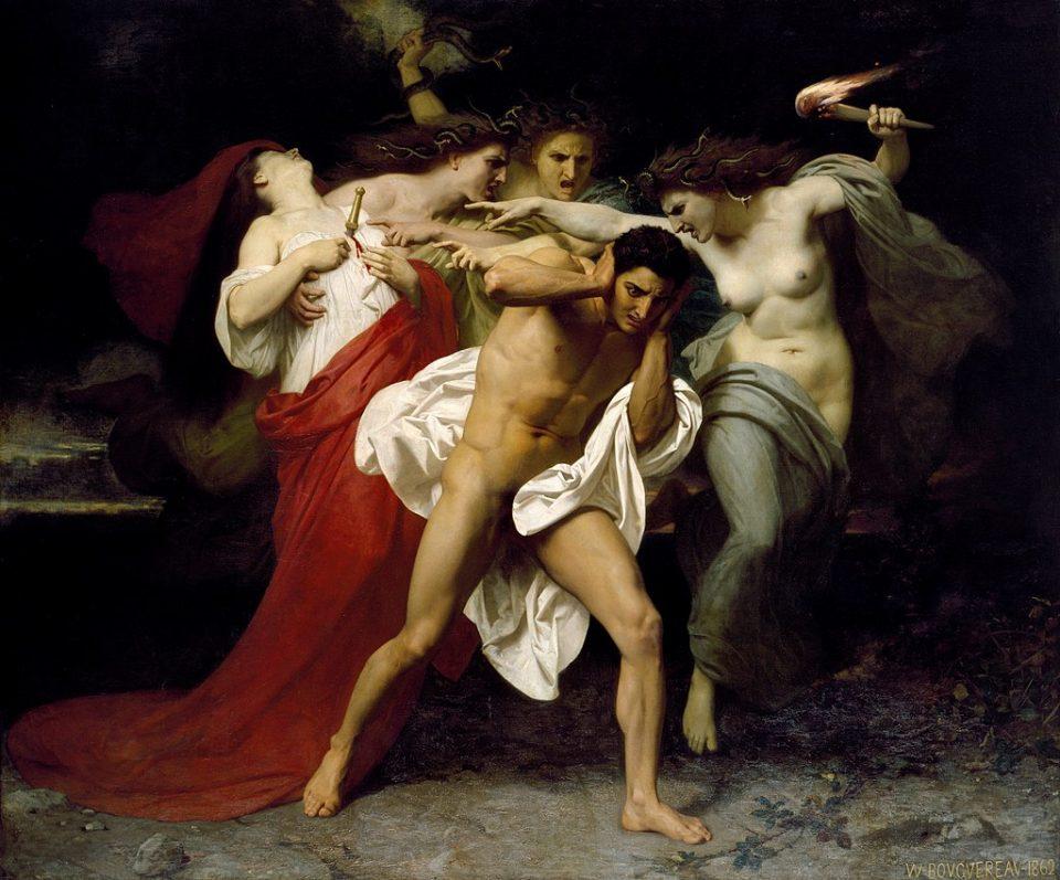 Oreste inseguito dalle Erinni , o Il rimorso di Oreste, opera di William-Adolphe Bouguereau, 1862, Chrysler Museum of Art , Norfolk, Virginia