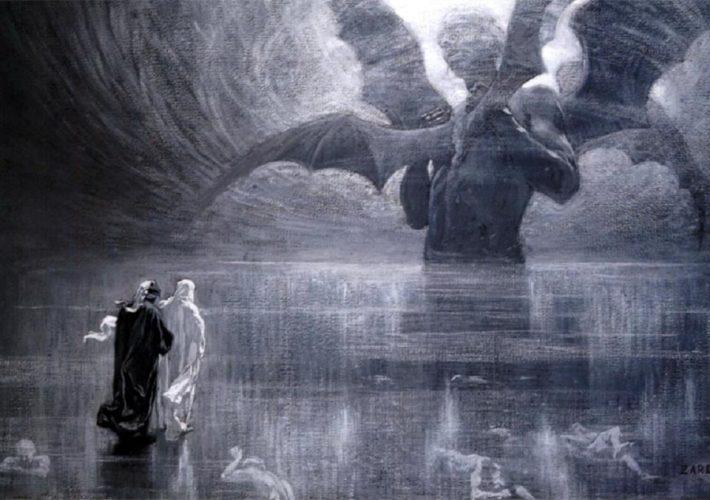 Alberto Zardo, illustrazione del canto XXIV (apparizione-di-Lucifero) della Divina Commedia