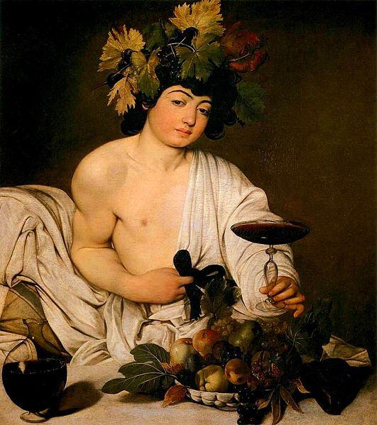 Bacco raffigurato da Caravaggio,1593 - 1594, Galleria degli Uffizi, Firenze