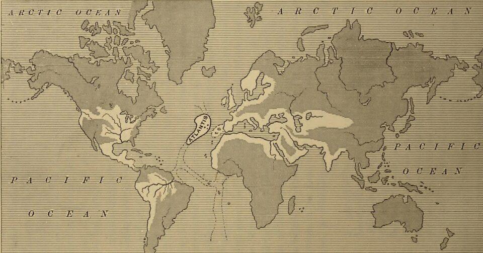 L'ipotetica estensione dell'impero di Atlantide da Atlantis: the Antediluvian World di Ignatius Donnelly, 1882