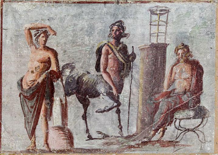 Apollo, Chirone e Asclepio raffigurati in un affresco di Pompei