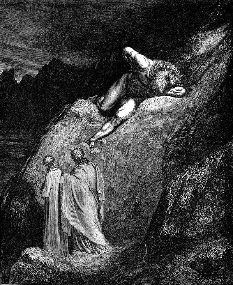 Dante e Virgilio incontrano il minotauro, illustrazione di Gustav Doré per la Divina Commedia.