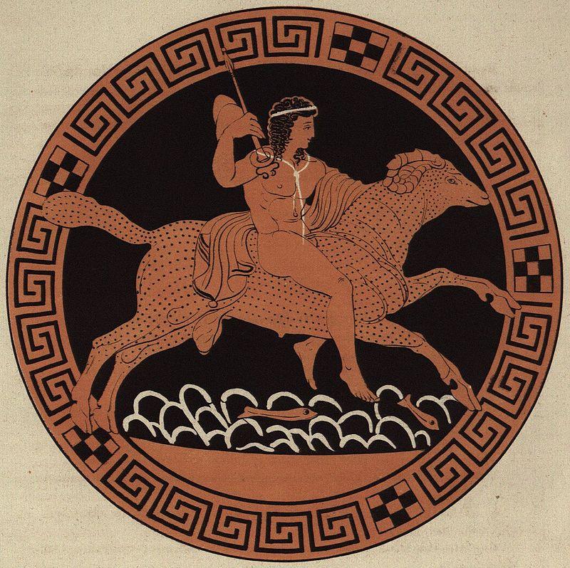 Frisso vola sull'ariete dal vello d'oro. Pittura su piatto, conservato a Berlino nello Staatliche Museen.