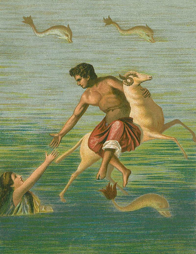 Frisso, Elle e l'Ariete in un'illustrazione ispirata ad un affresco trovato a Pompei