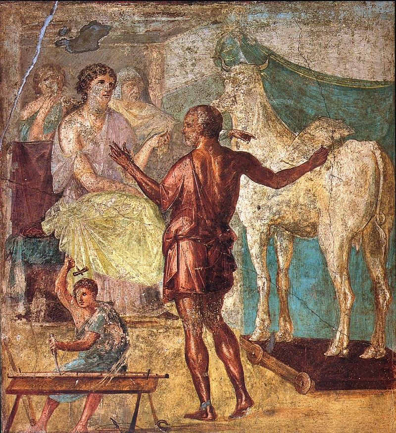 Dedalo presenta a Pasifae la finta giumenta in un affresco di Pompei