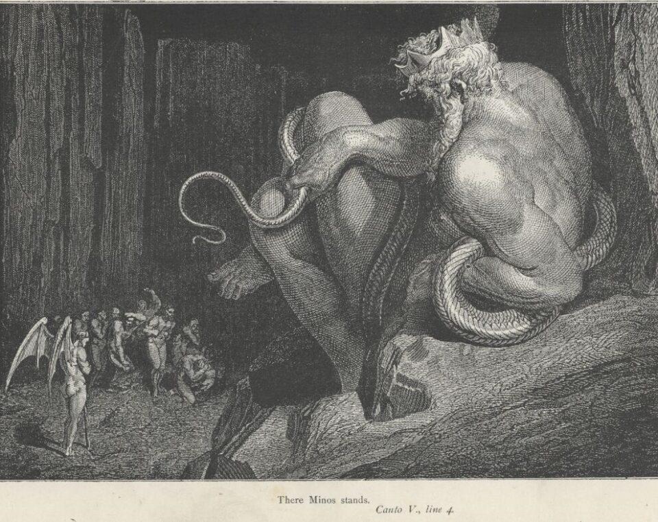 Minosse in un'illustrazione della Divina Commedia ad opera di Gustav Dorè