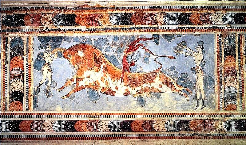 Affresco di giochi sul toro ritrovato (e in parte ridipinto) nel palazzo di Cnosso a Creta