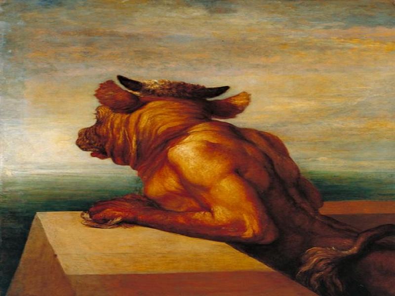 Il minotauro, mostruoso figlioccio di Minosse, dipinto nel 1885 da George Frederic Watts