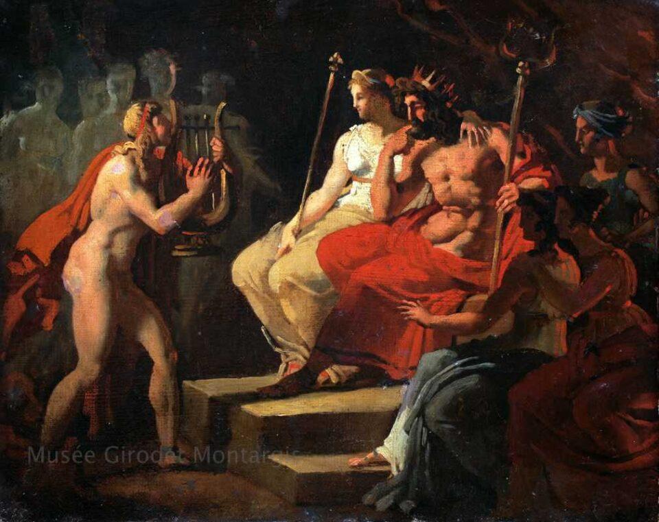 Orfeo agli inferi supplica Ade di ridargli Euridice, in un altro famoso mito legato al Dio dipinto da Joseph Ferdinand Lancrenon nel 1810. Opera custodita al Musée de Montargis
