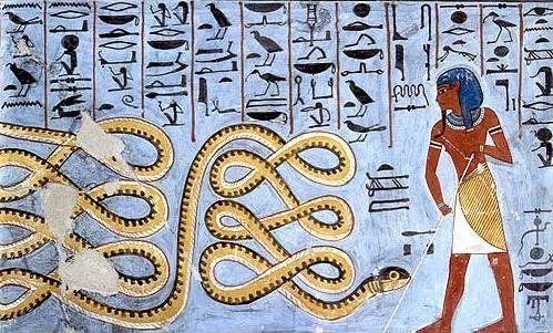 Atum mentre tiene a bada Apopi, l'incarnazione del male. Tomba di Ramses I, Valle dei Re