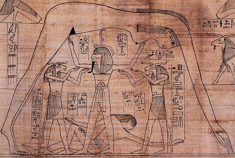 Shu che separa Nut e Geb, dettaglio del Papiro Greenfield conservato al British Museum di Londra.