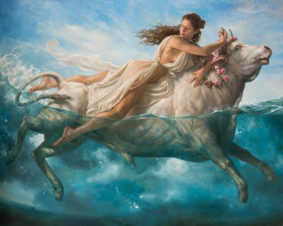 Il rapimento di Europa dipinto da Alejandro De Cinti, la storia alla base della costellazione del toro nello zodiaco