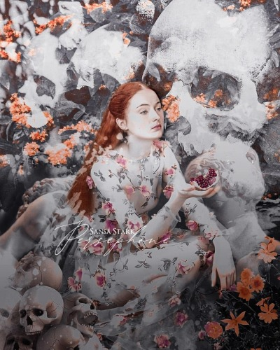 Una fanart che associa Sansa Stark del trono di spade alla Dea della mitologia Persefone