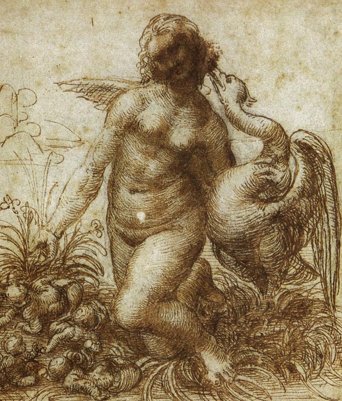 Leda e il Cigno è un dipinto oggi perduto di Leonardo Da Vinci. Questo è un suo schizzo preparatorio ad opera del grande Maestro.