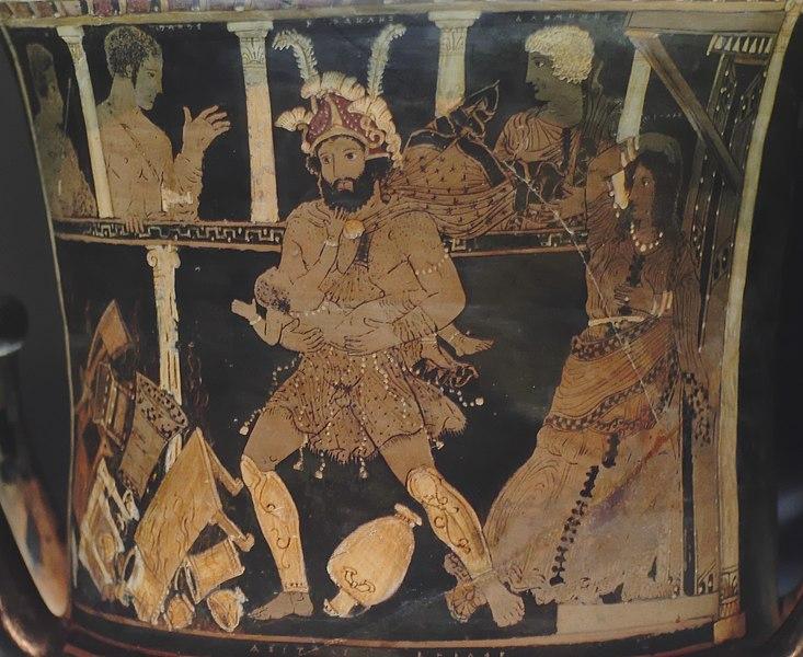 Ercole uccide i figli di fronte a una Megara terrorizzata, in un vaso oggi conservato al Museo Archeologico di Madrid
