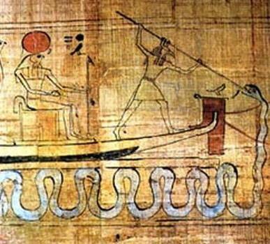 Questo papiro raffigura Seth che uccide Apopi trafiggendolo con una lancia. Reperto conservato al Museo del Cairo, in Egitto.