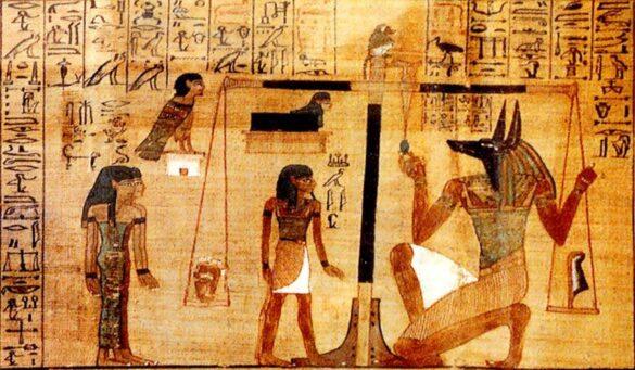 Anubi esegue la psicostasia, British Museum