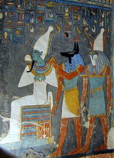 Osiride, Anubi e Horus sulla pareti della tomba di Horemheb (KV57), nella Valle dei Re.