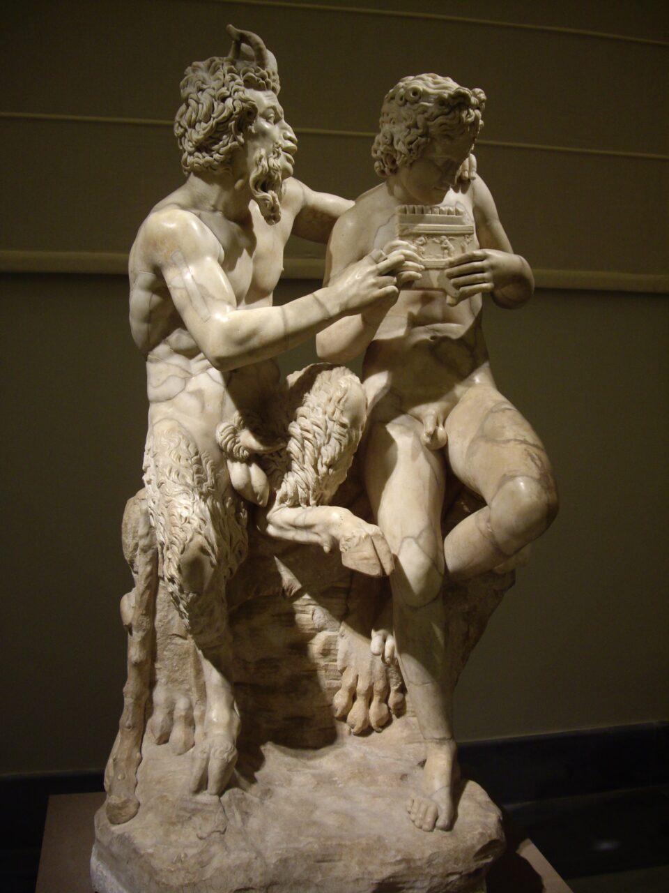 """Pan insegna a Dafni a suonare il """"Flauto di Pan"""", Napoli, Museo Archeologico"""