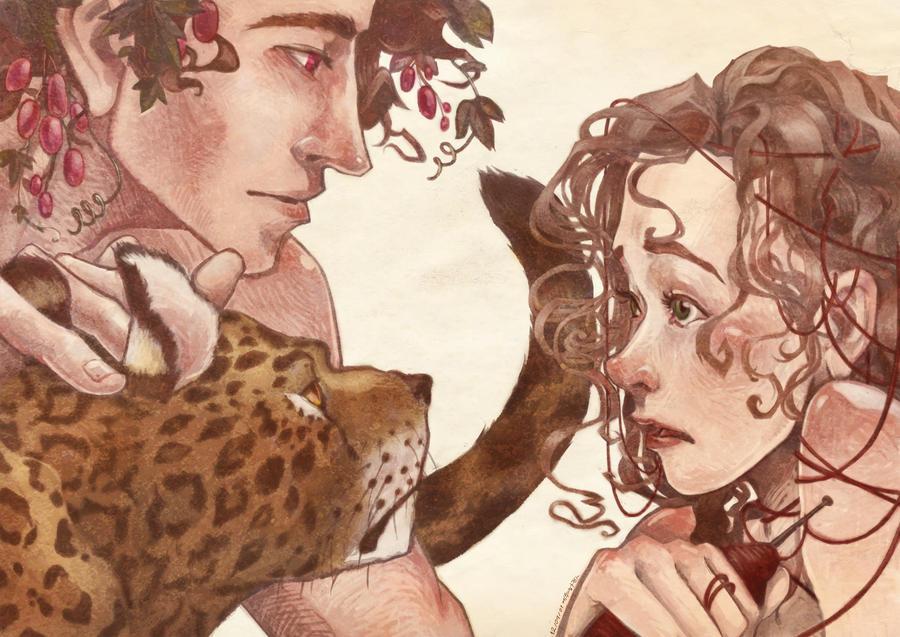 Dioniso trova Arianna in un'illustrazione di Eruhaha